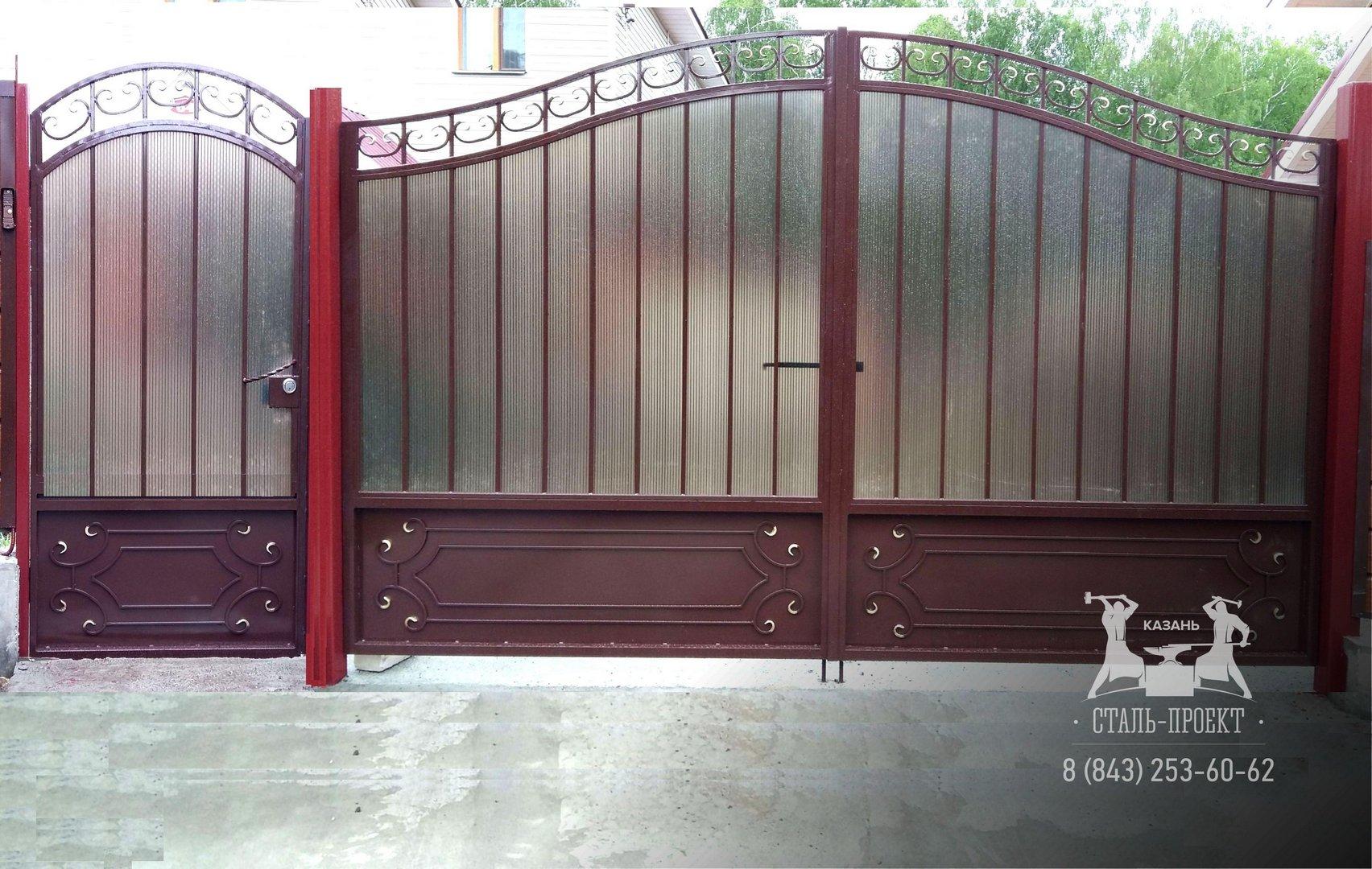 Ворота с врезной калиткой фото 7